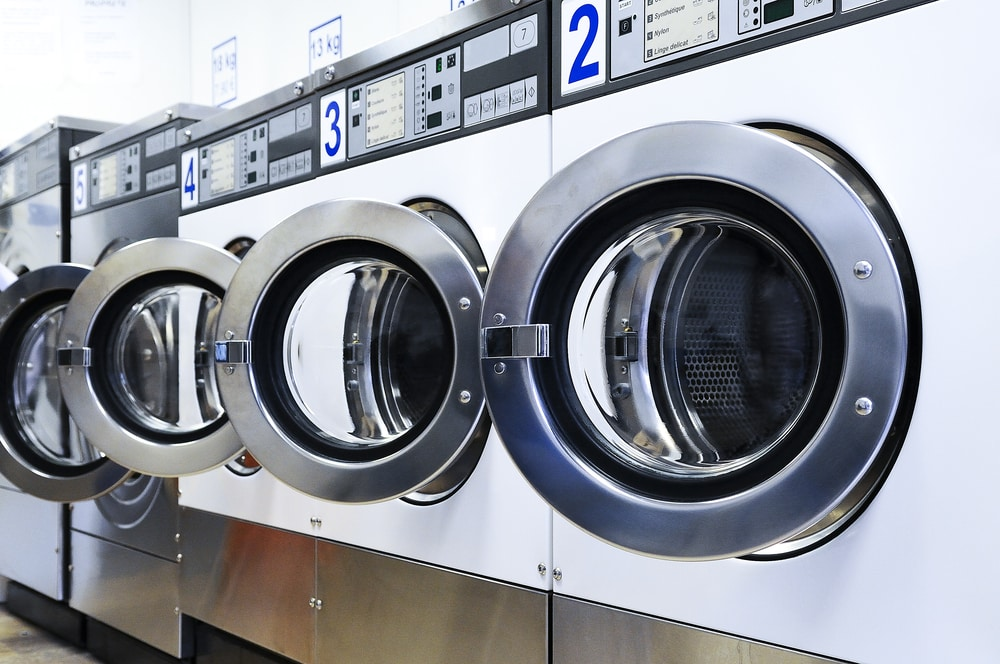 Row of washers in a laundromat