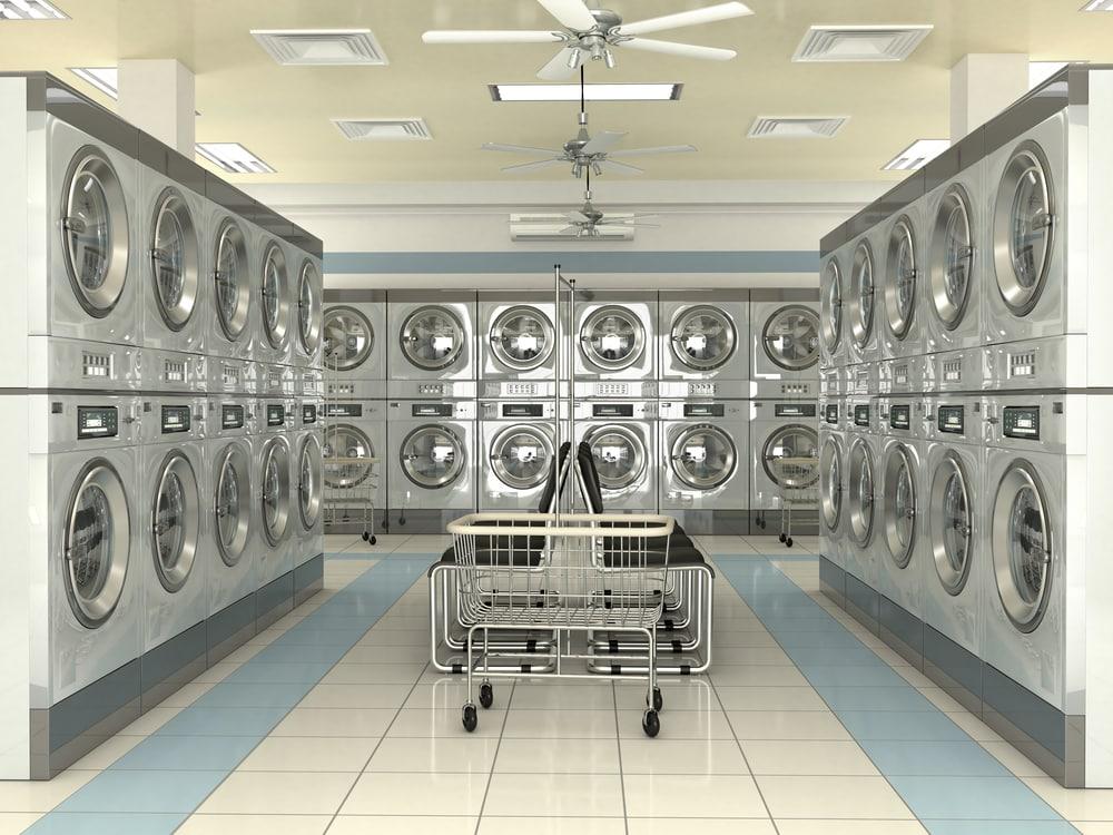 Clean empty laundromat interior